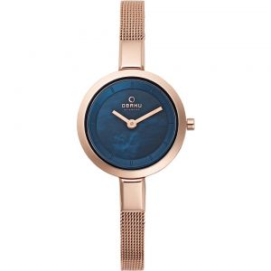 Obaku Ladies 'Siv' Blue With Rose Gold Mesh Bracelet Watch