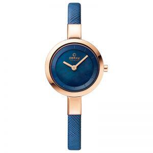 Obaku Ladies Rose Gold Plated Mesh Bracelet 'Siv' Watch, Blue, SKU V129LXVLMV