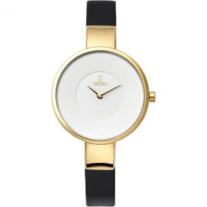 Obaku Ladies 'Harmony' Black Leather Strap Watch