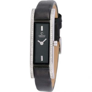 Niche Obaku Ladies Stone Strip Black Leather Strap Watch