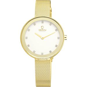 Obaku Ladies 'Blomst' Gold Mesh Bracelet Watch V130LXGGMG