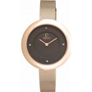 Niche Obaku Ladies Stone Set Rose Gold Plated Mesh Bracelet Watch