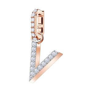 Swarovski Remix Collection Charm V, White, Rose Gold Plating