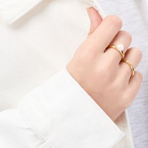 Jersey Pearl VIVA Stacking Ring, Gold