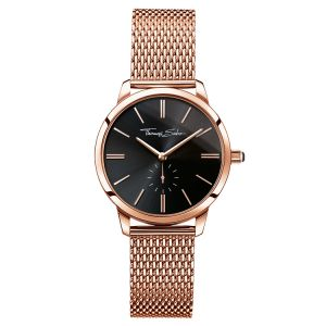 Thomas Sabo Women's Glam Spirit Watch, Mesh Rose Gold and Black