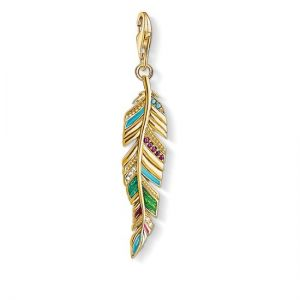 Thomas Sabo Charm Pendant, Ethnic Feather Gold Y0033-471-7