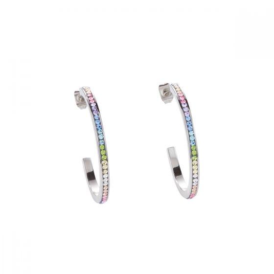 Coeur De Lion Stainless Steel and Pastel Crystal Hoop Earrings 0129211522