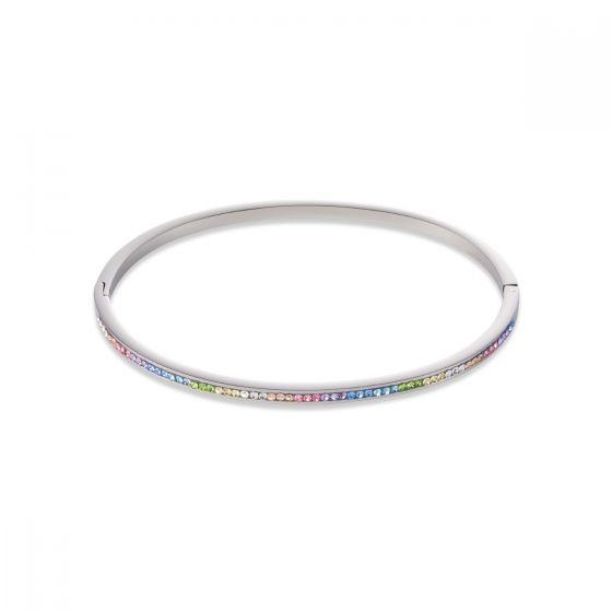 Coeur De Lion Pastel Rainbow Crystal Bangle - Silver