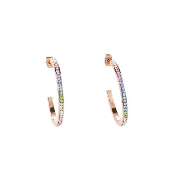 Coeur De Lion Pastel Rainbow Crystal Hoop Earrings - Rose Gold