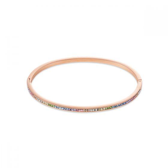 Coeur De Lion Pastel Rainbow Crystal Bangle - Rose Gold 0229371522