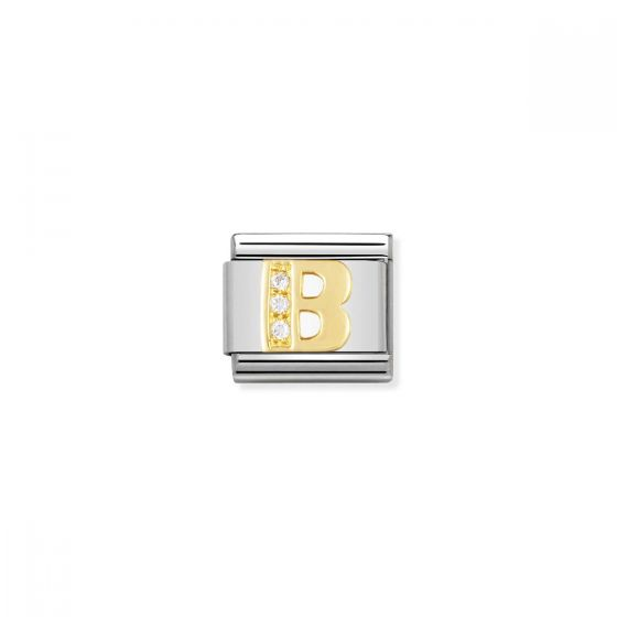 Nomination Gold and Zirconia Classic Letter Charm - B