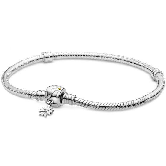 Pandora Moments Daisy Flower Clasp Snake Chain Bracelet-598776c01-15, 16, 17, 18, 19, 20, 21, 23