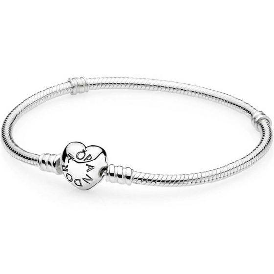 Pandora Moments Heart Clasp Snake Chain Bracelet 590719