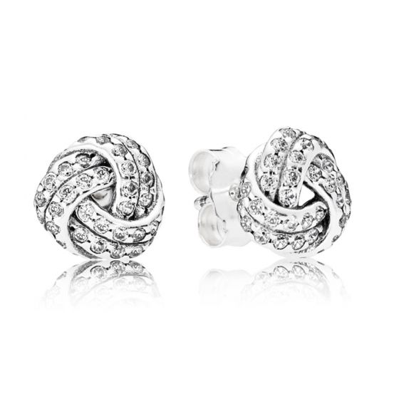Pandora Shimmering Knot Stud Earrings-290696cz