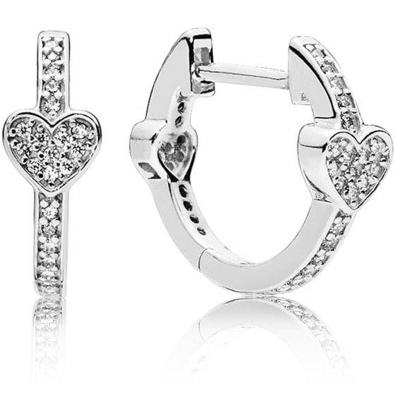 Pandora Pavé Heart Hoop Earings-297290cz