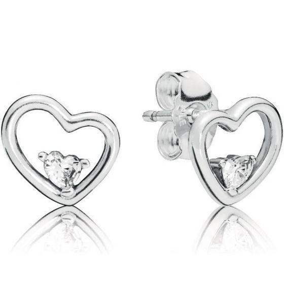 Pandora Asymmetrical Heart Stud Earrings-297813cz