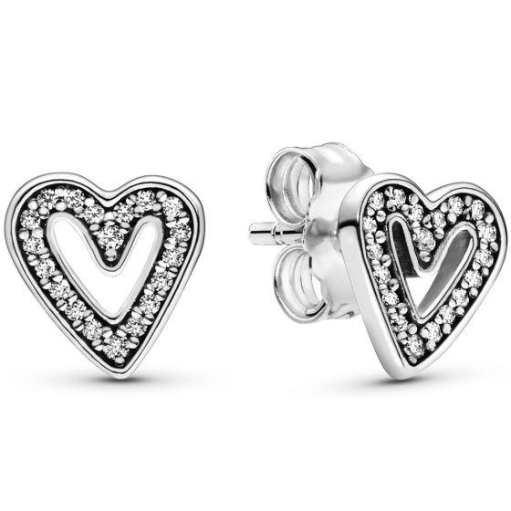 Pandora Sparkling Freehand Heart Stud Earrings-298685c01