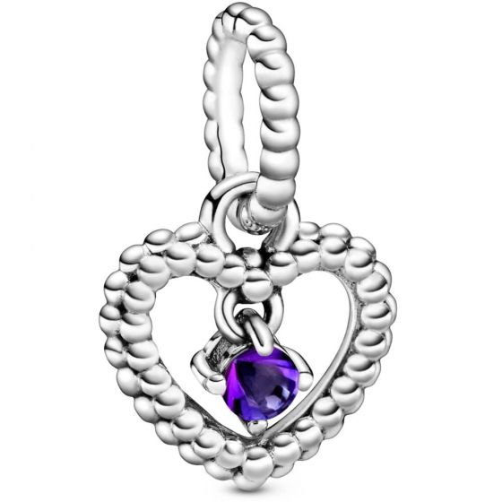 Pandora February Birthstone Heart Dangle Charm 798854C03