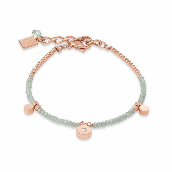 Couer de Lion Rose Gold, Cut Glass & Swarovski Crystals Bracelet Light Green 4989300520