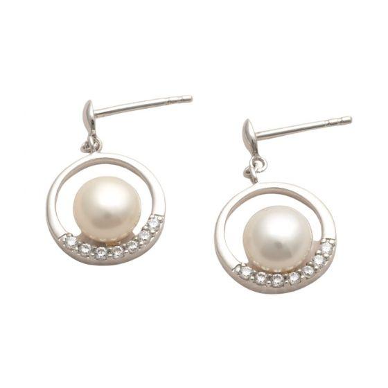 Jersey Pearl Circle Pearl and Zirconia Earrings