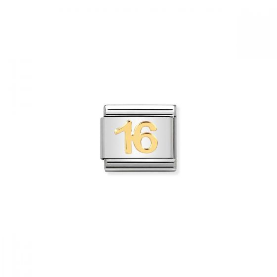 Nomination Classic Number 16 Charm - 18k Gold - 030109/35