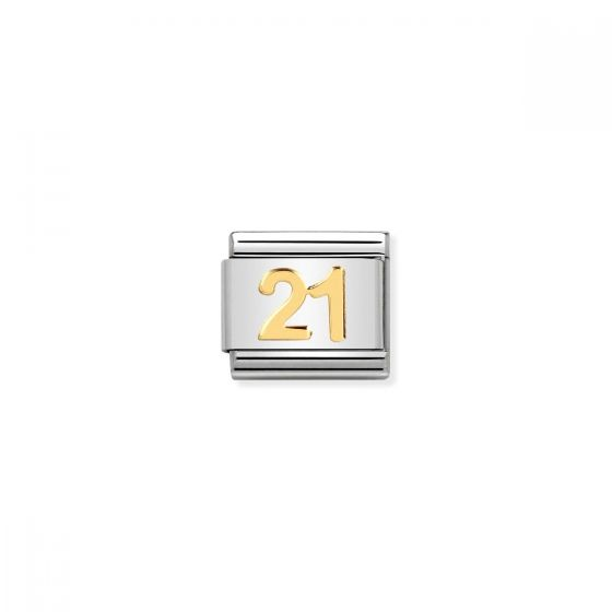 Nomination Classic Number 21 Charm - 18k Gold - 030109/36