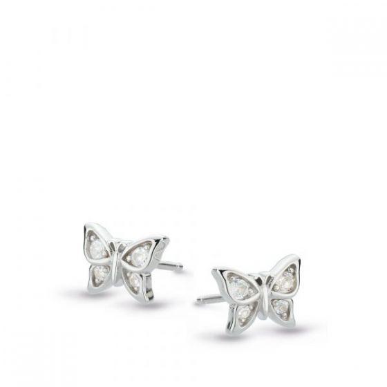 Kit Heath Blossom Flyte Butterfly White Topaz Stud Earrings 30352WT