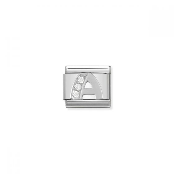 Nomination Silver and Zirconia Classic Letter Charm - A