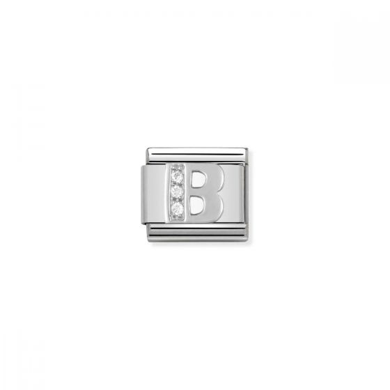 Nomination Silver and Zirconia Classic Letter Charm - B