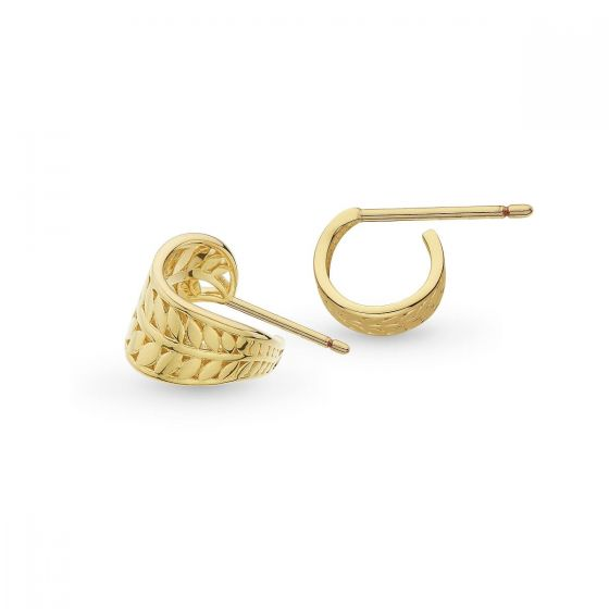 Kit Heath Blossom Eden Mini Wrapped Leaf Gold Stud Earrings