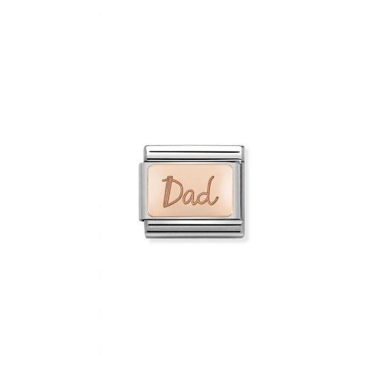 NOMINATION Composable Classic PLATES in stainless steel with 9K rose gold CUSTOM Dad plate
