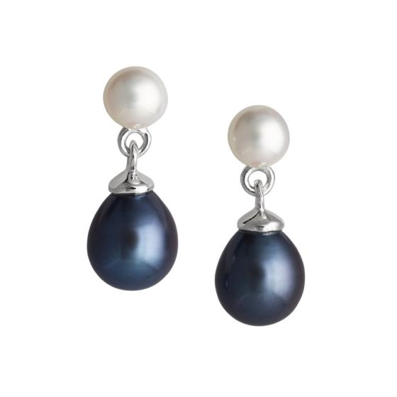 Jersey Pearl Dew Drop Earrings - White and Peacock
