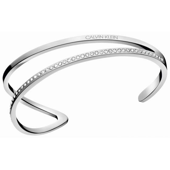 Calvin Klein Silver Tone Outline Open Bangle