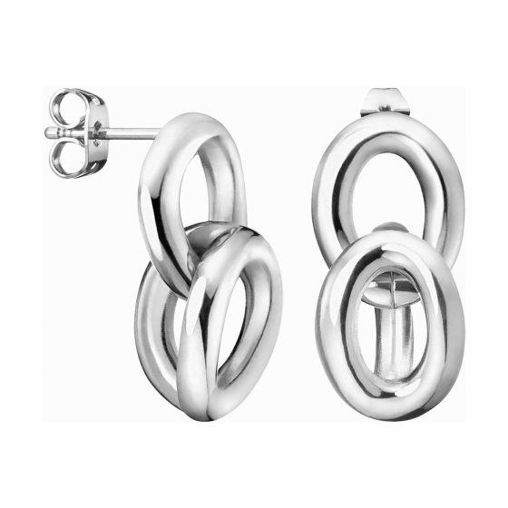 Calvin Klein Silver Tone Statement Drop Earrings