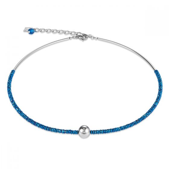 Coeur De Lion Hematite Blue and Stainless Steel Necklace