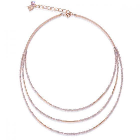 Coeur De Lion Rose Gold and Glass Necklace  4960101022