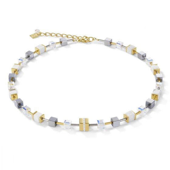 Coeur De Lion GeoCUBE Necklace - Gold with White Crystal and Howlite 4965101614