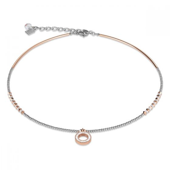 Coeur De Lion Rose Gold and Silver Crystal Necklace 4973101800