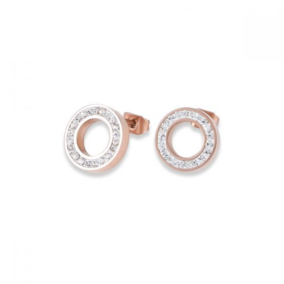 Coeur De Lion Rose Gold and Silver Crystal Stud Earrings