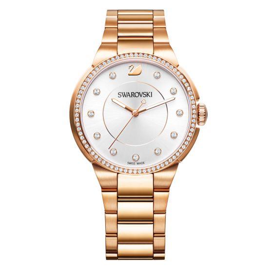 Swarovski City Watch, White, Rose Gold Plating 5181642