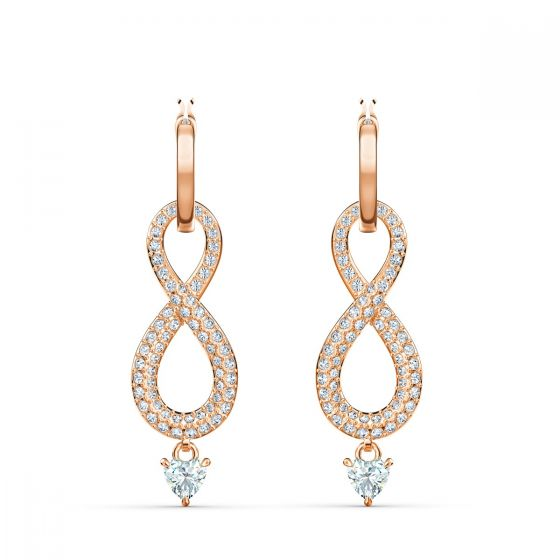 Swarovski Infinity Pierced Earrings - Rose Gold Plated - 5512625