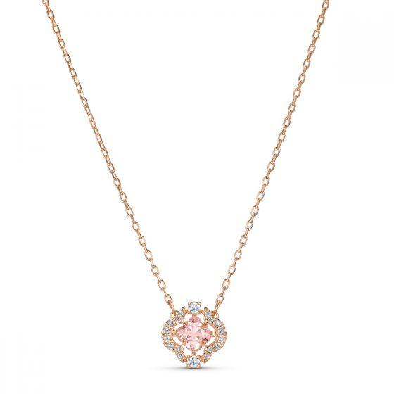 Swarovski Sparkling Dance Clover Necklace - Rose Gold Plating - 5514488