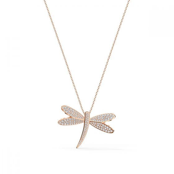 Swarovski Eternal Flower Dragonfly Necklace - Rose-Gold Tone Plating - 5524856
