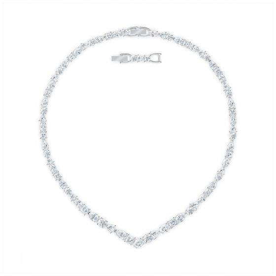 Swarovski Tennis Deluxe Mixed V Necklace - White with Rhodium Plating 5556917