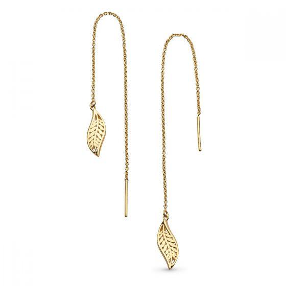Kit Heath Blossom Eden Leaf Chain Gold Plate Drop Earrings 60251GD027