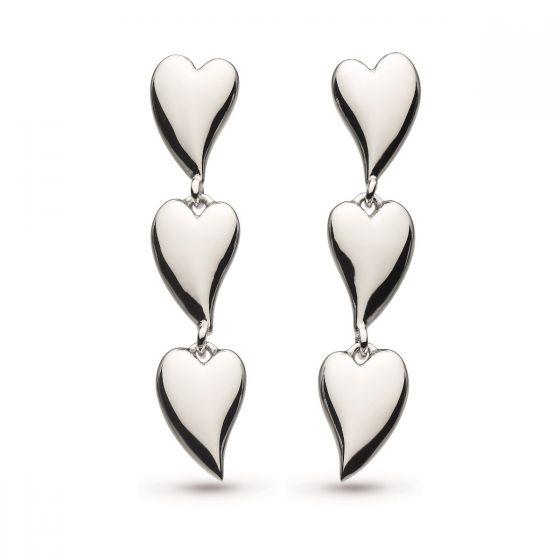 Desire Kiss Rhodium Plate Linking Hearts Stud Drop Earrings 60MK028