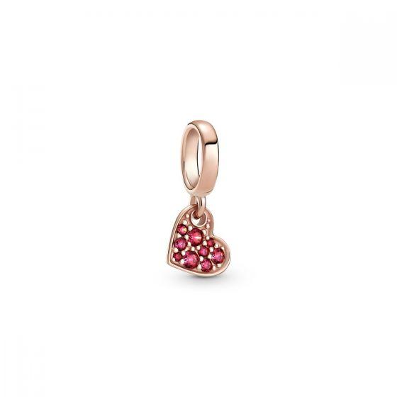 Pandora Red Pavé Tilted Heart Dangle Charm 789404C02