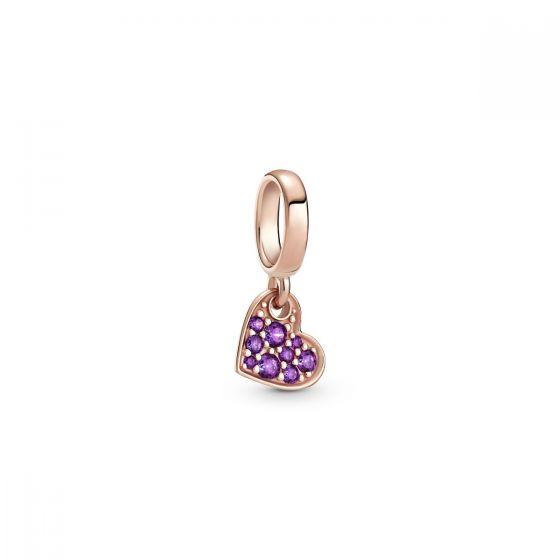 Pandora Royal Purple Pavé Tilted Heart Dangle Charm 789404C03
