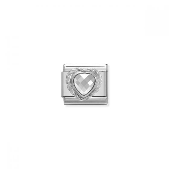 Nomination Silver and Zirconia Classic Faceted Heart Charm - White - 330603/010