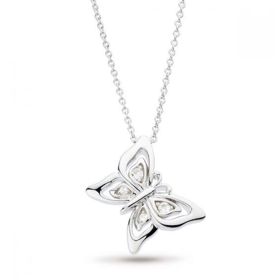 Kit Heath Blossom Flyte Butterfly White Topaz Necklace 90352WT